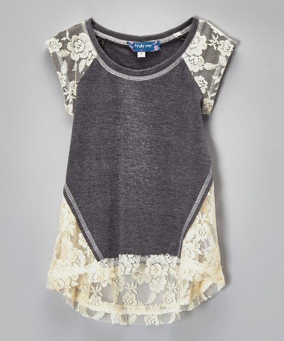 Gray & Ivory Lace Hi-Low Raglan Top for girls on #zulily #tween #fashion: