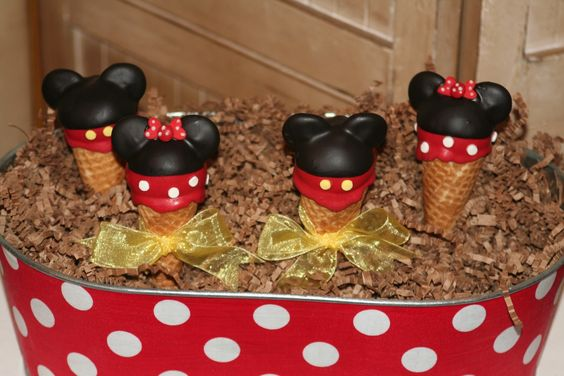 Mom's Killer Cakes Mickey and Minnie Mouse Inspired Ice Cream Cone Cake Pops