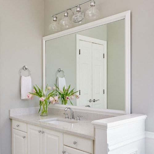 Bright White Bath With Mirrormate Frame In The Chelsea Classic White On The Mirror Bathroom Mirror Frame Mirror Frame Diy Bathroom Mirrors Diy
