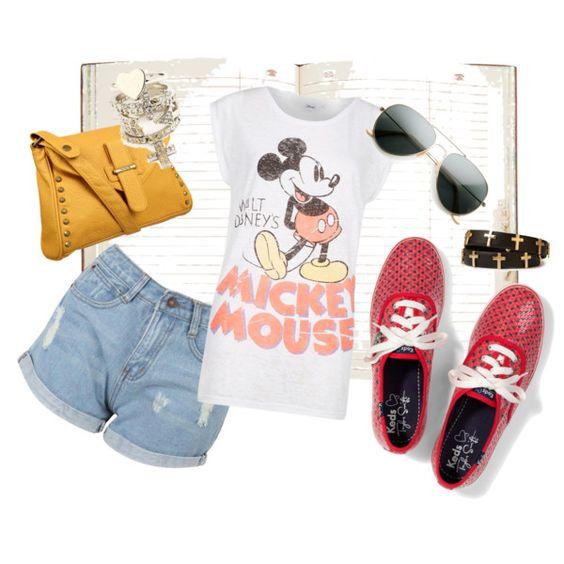 ............MODE FANTAISIE............. Elle porte un tee-shirt blanc avec Mickey Mouse. Elle porte un jean short. Elle a lunettes des soleil, des baskets rouge, et un sac à main jaune.