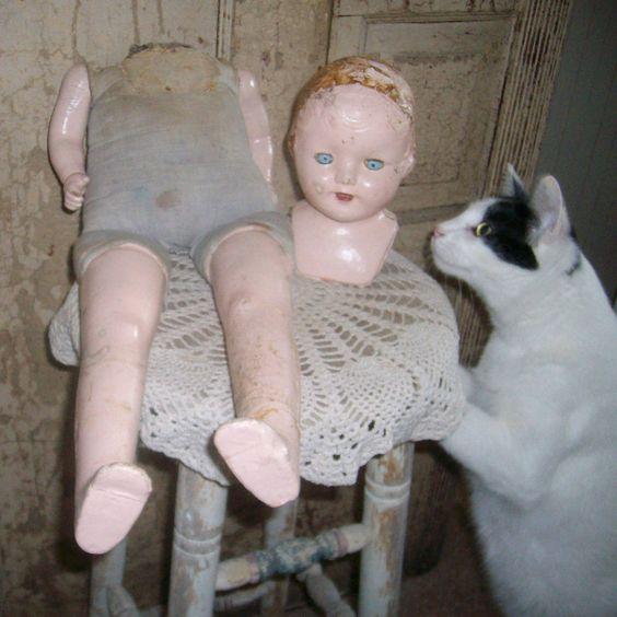 antique creepy creepy vtg headless composition doll-Halloween prop