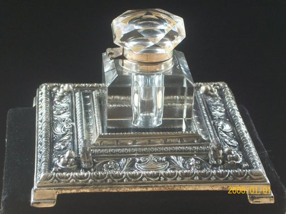 Antique Crystal and Silverplate Inkwell Desk Set | Desk Set, Antiques ...