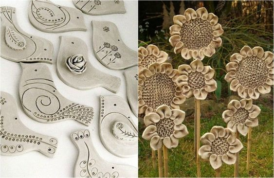 Töpfern Ideen für den Garten - Vögel und Sonnenblumen basteln