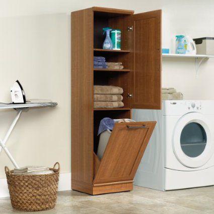 narrow storage cabinet w recycle bin trash can holder or laundry hamper wood. Black Bedroom Furniture Sets. Home Design Ideas