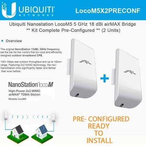 Ubiquiti Nanostation Locom5 2 Units Pre Configured Airmax Cpe Nanostationm 5ghz Loco Station The Unit Surveillance System Video Surveillance