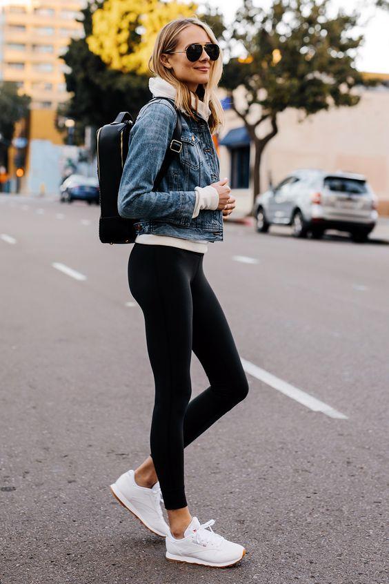Athleisure Outfit Denim Jacket Grey Sweatshirt Black Leggings Reebok Classic White Sneakers Black Calpack Backpack Fashion Jackson San Diego Fashion Blogger Street Style