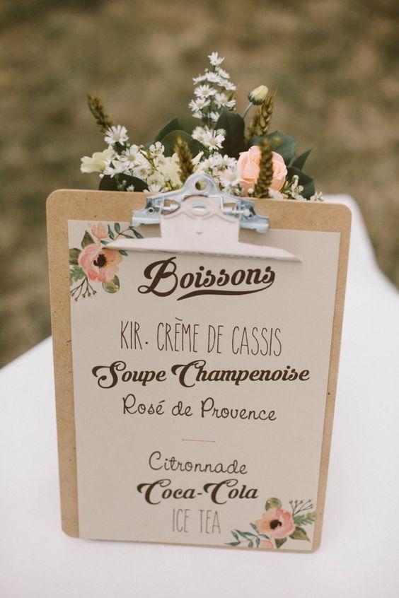 Idée repas pour mariage champetre