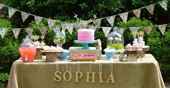 Pretty dessert tables at a fairy birthday party! See more party ideas at CatchMyParty.com!