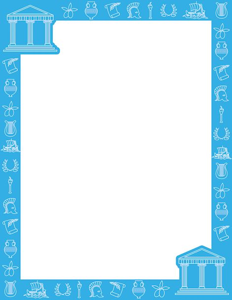 Blue border featuring line art of items related to Ancient Greece ...