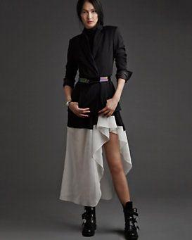 Theory Contrast Hi/Lo Ruffle Dress