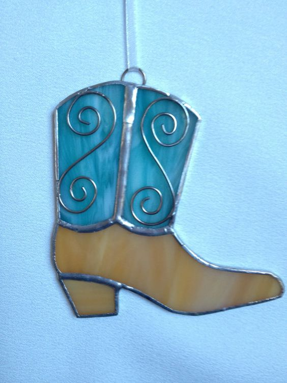 Stained Glass Christmas Ornament: Teal and Tan Cowboy Boot by Mama Agee, $7.50