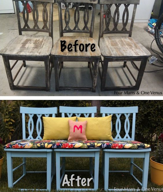 three-chair-bench | How To Turn Old Chairs Into New Beautiful Benches: