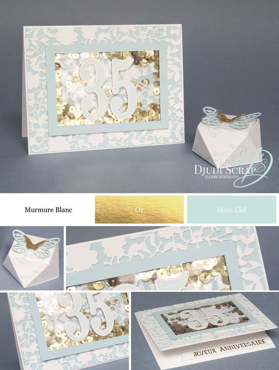 "Djudi'Scrap Stampin'Up! - Tutoriel Carte Anniversaire Shaker ""Set number of years"", Boîte Diamant"