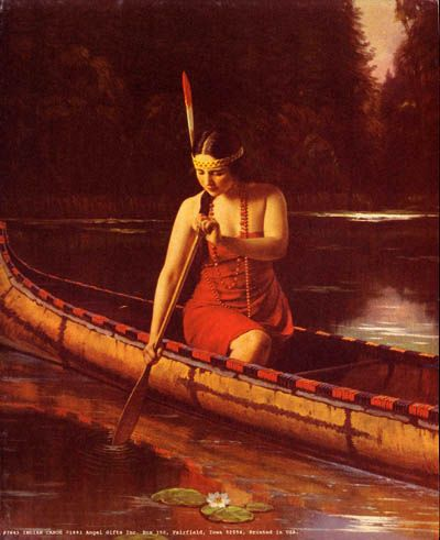 Native American girl paddles a birch bark canoe, via Flickr.: