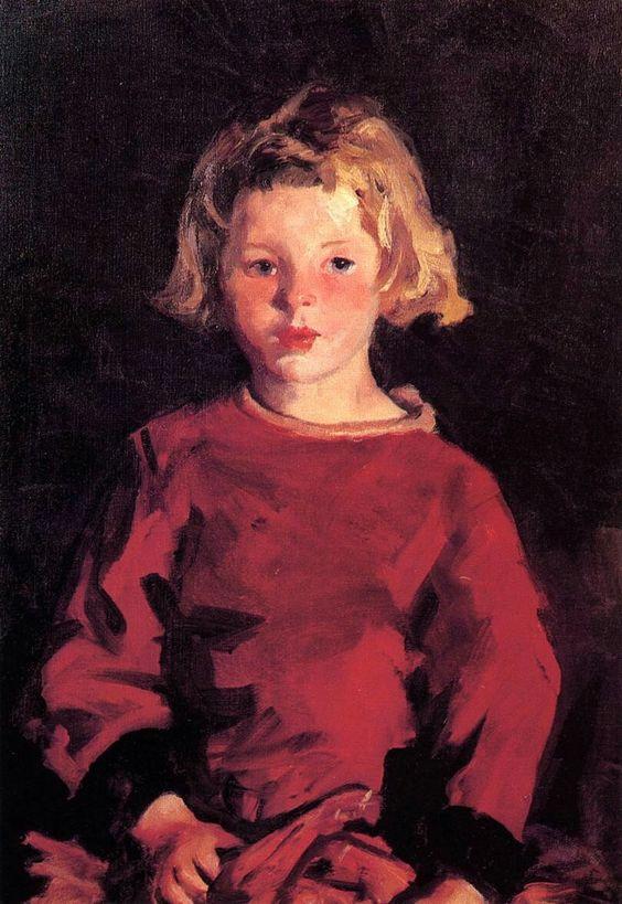 Bridget in Red, Robert Henri. American Ashcan School Painter (1865-1929)