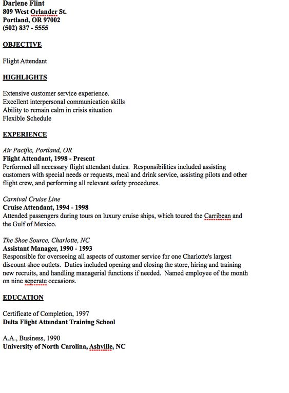 Example of Flight Attendant Resume - http\/\/resumesdesign - accomodation officer sample resume