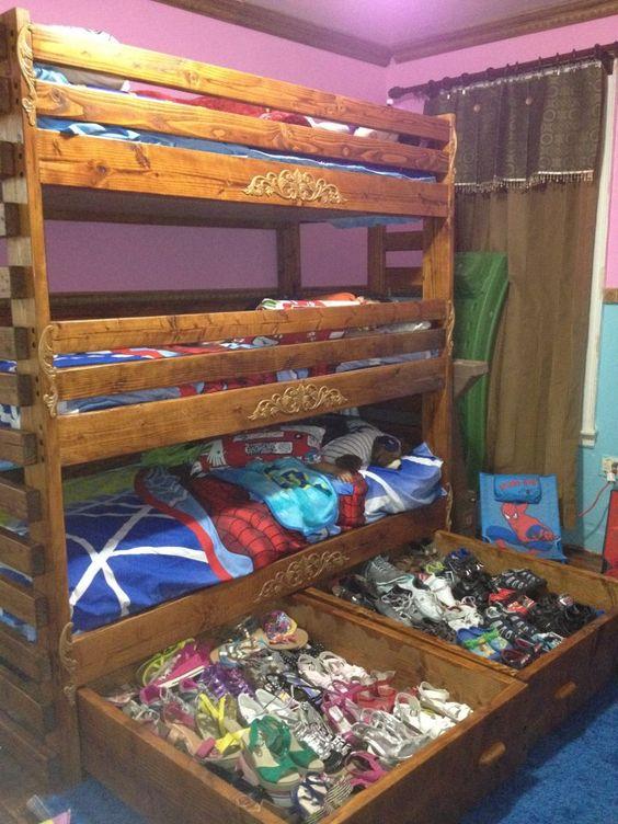 Best Triple Bunk Bed With 2 Huge Storage Drawers Underneath 640 x 480