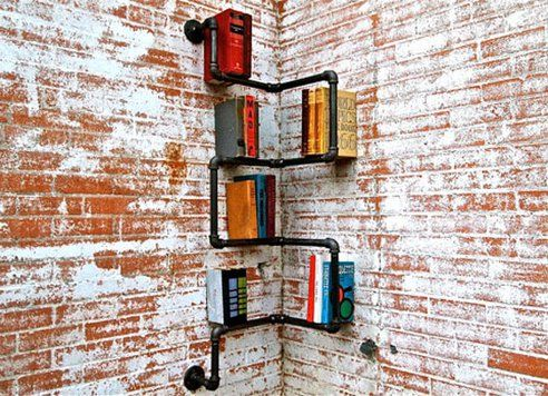 Industrial Piping, Recycled Into One of a Kind Shelving