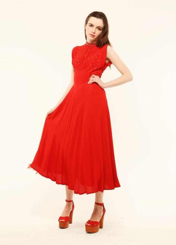 1940's Rhinestone red dress