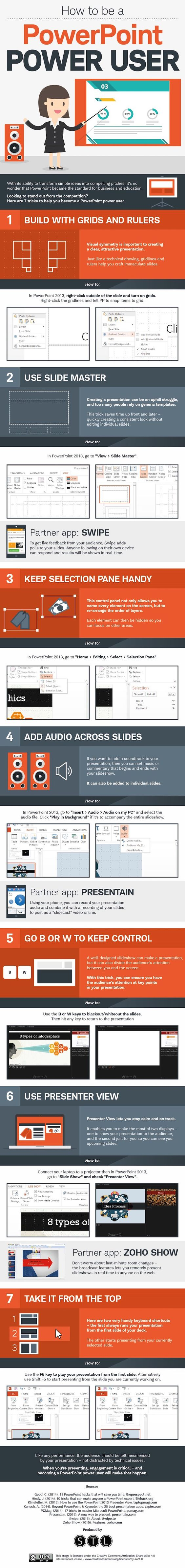 How to be a powerpoint power user. Good tips. Building with grids, hiding slide when you want audience attention, etc.