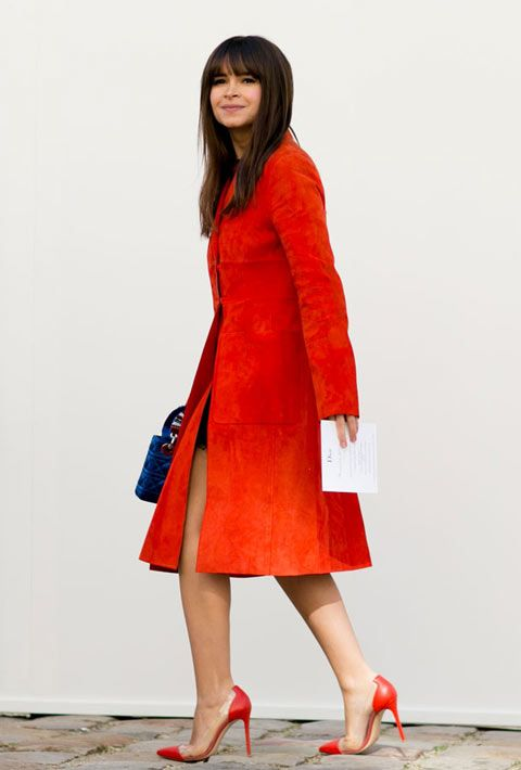 #Miroslava Duma red cape coat
