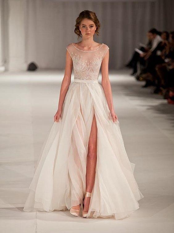 Forme Forme Princesse Col rond Sans manches Manches courtes Longueur ras du sol Organza Robes de bal
