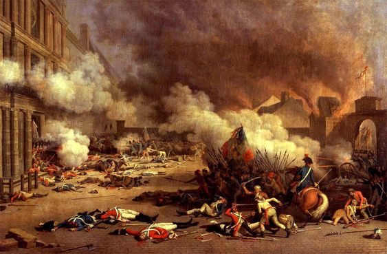 The Storming of the Tuileries Palace.  Many of the King's Guardsmen lost their lives defending the Royal Family.