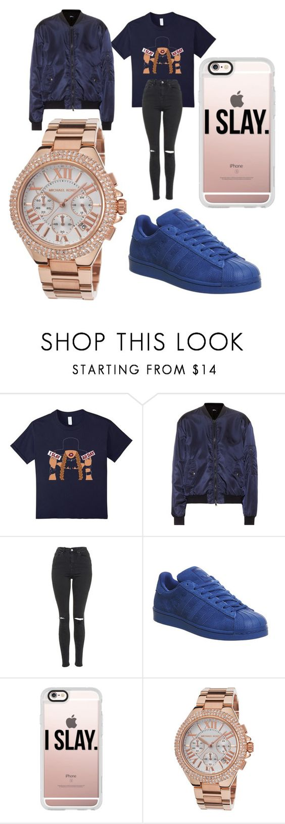 """I SLAY ALL DAY "" by leah3000 ❤ liked on Polyvore featuring Jil Sander Navy, Topshop, adidas, Casetify and Michael Kors"
