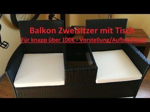 Sitzgarnitur Hengmei Polyrattan Zweisitzer Mit Glastisch Schwarz Mit Weissen Kissen Youtube Polyrattan Sitzgarnitur Glastische