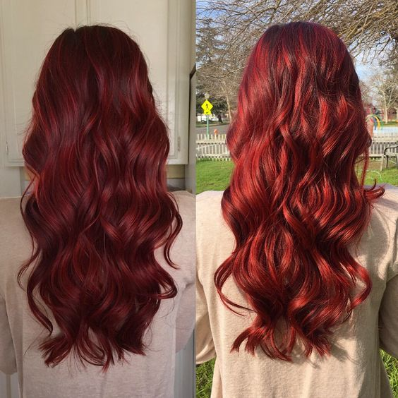 Indoor and outdoor lighting. Vibrant red hair