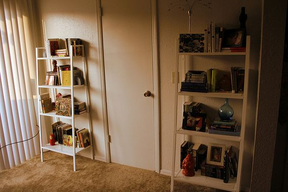 The bookshelves in our living room when we first moved in.