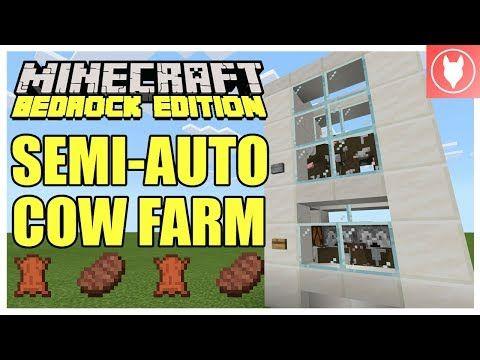 Minecraft Bedrock Semi Automatic Cow Farm Tutorial Xbox Mcpe Windows 10 Switch Youtube Bedrock Minecraft Minecraft Farm