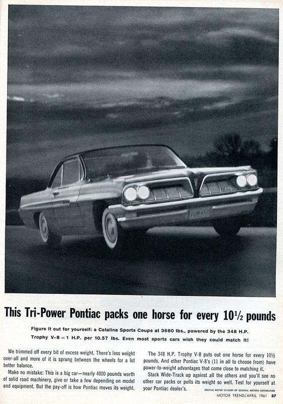 1961 Pontiac Catalina coupe -Ad in Motor Trend magazine, April 1961.