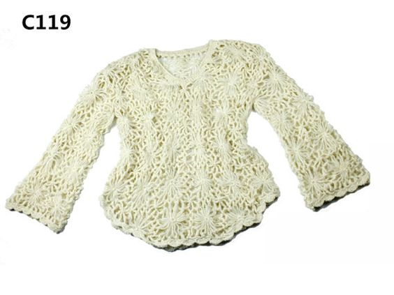 White long sleeve floral top, crochet floral ladies top, knit woman floral top, handmade ladies top, for her, gift for ladies, FREE DELIVERY
