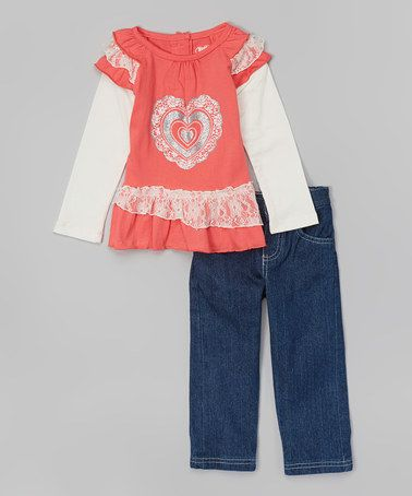 Loving this Orange Lace Heart Top & Jeans - Infant & Toddler on #zulily! #zulilyfinds