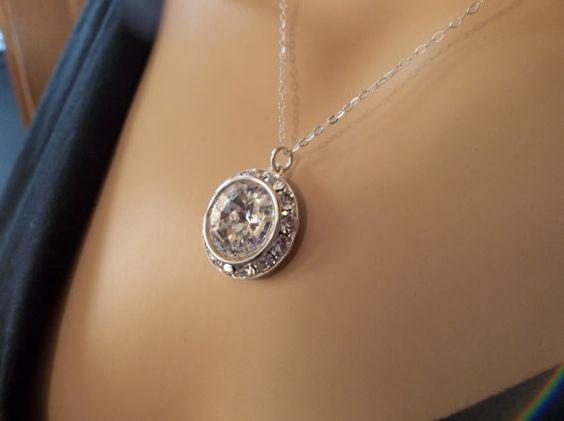 Swarovski RIVOLI  Crystal Pendant  Sterling by QueenMeJewelryLLC, $27.99