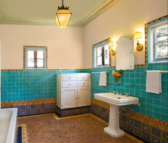 Pin By Ouerhani Lotfi On Bathrooms Mediterranean Bathroom Moroccan Bathroom Accent Tile Bathroom