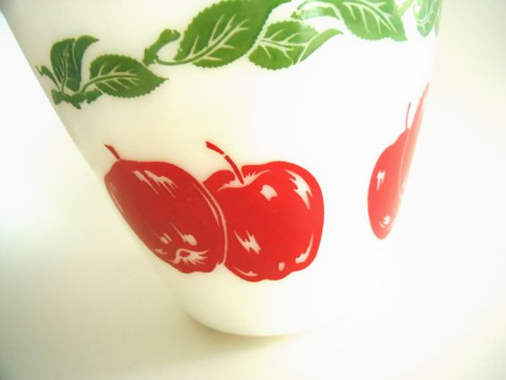 Vintage Apples on White Glass Mixing Bowl via Etsy