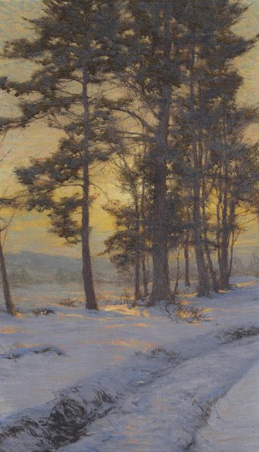 "Walter Launt Palmer (1854-1932) - ""Path Through the Snow Under Golden Skies"" - 30 X 18 in. oil on canvas"