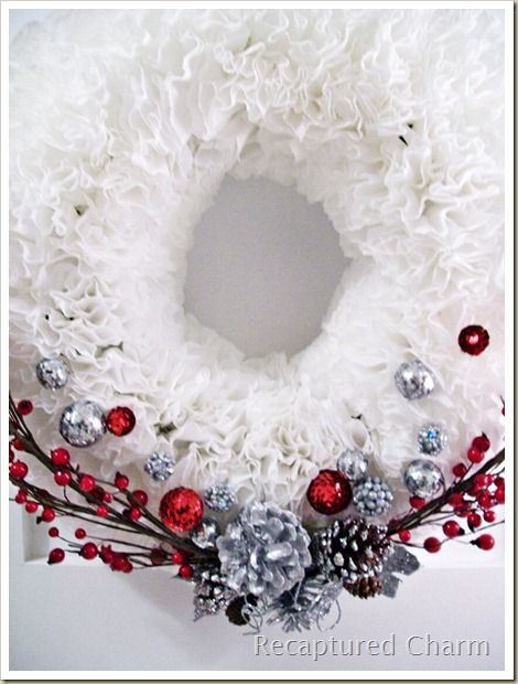 Coffee Filter Christmas Wreath tutorial -- this isn't a recipe but I ...
