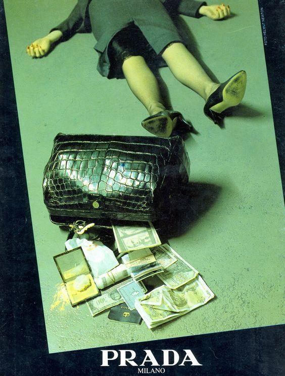 """ Prada Advertisement(1986), photo by Helmut Newton "":"
