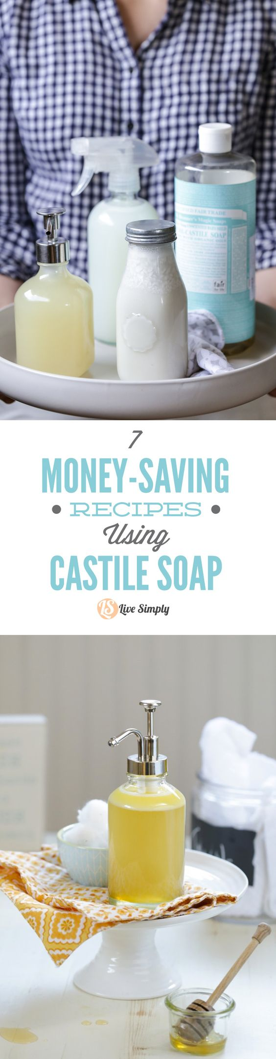 7 Money-Saving Recipes Using Castile Soap! So many amazing, natural uses for castile soap. I love the bathroom cleaner, face wash, and hand soap. So many more you can make with just one 32-ounce bottle of castile soap. http://livesimply.me/2015/04/13/7-money-saving-recipes-using-castile-soap/