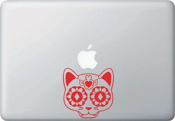 MB - Sugar Skull Cat - Day of the Dead - Día de los Muertos - Macbook | Laptop Vinyl Decal - © 2016 YYDC (Size and Color Choices)