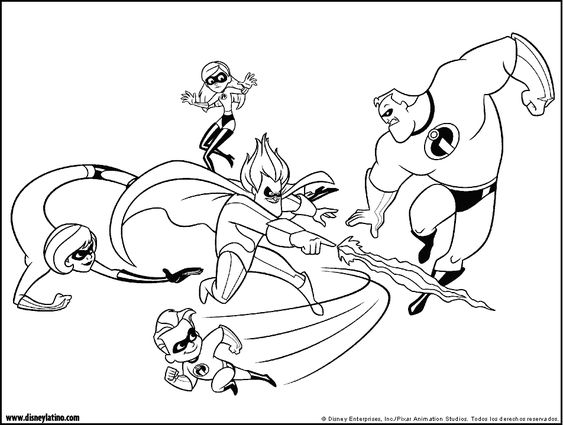 The Incredibles Color Page Disney Coloring Pages Color