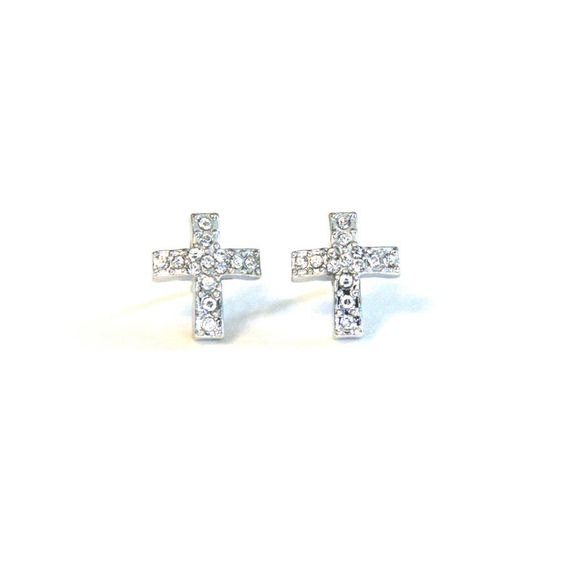 Hope Crystal Cross - Stud Earrings