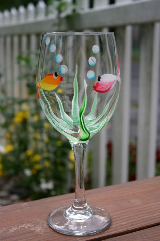 Under the sea hand painted wine glass by prucrucreations for Painted glass fish
