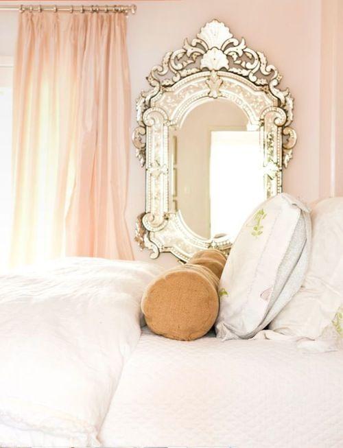 pale pink: Guest Room, Vintage Mirror, Girl Room, Venetian Mirror, Wall Color, Beautiful Mirror