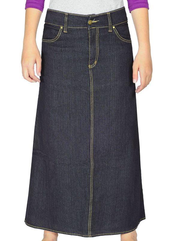 modest a line denim skirt color stonewashed navy