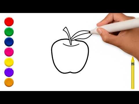 Drawing Apple Learn To Draw An Apple Coloring For Kids تفاح رسم وتلوين تفاحه Youtube Drawing Apple Fruit Coloring Pages Drawing For Kids