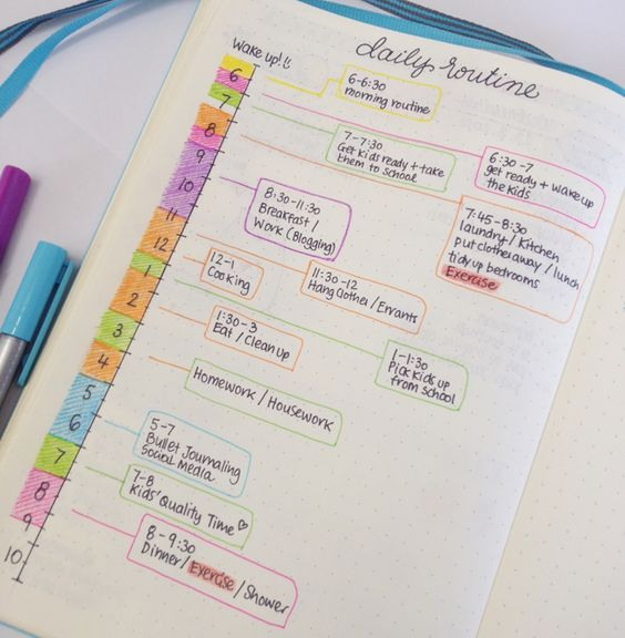 Daily Morning Routine Schedule for Bullet Journal - Focus and Time Management - Tips for managing your time and getting more things done -- christina77star.co.uk